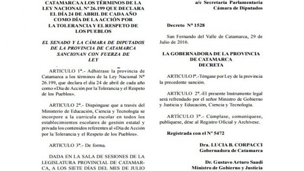 """La provincia de Catamarca adhirióa la Ley Nacional 26.199 que declara el24 de abril de todos los años como el """"Día de Acción por la Tolerancia y Respeto entre los […]"""