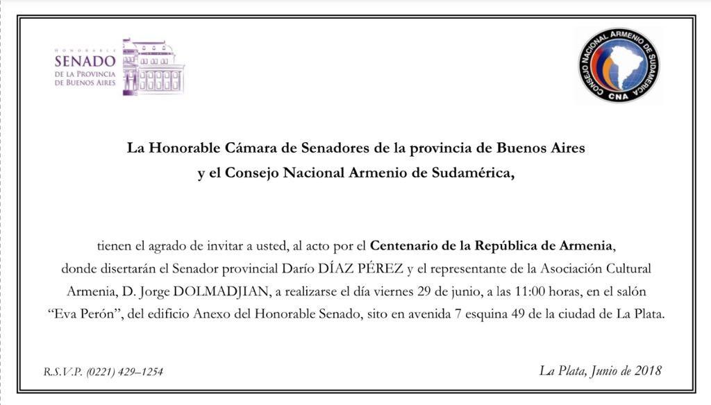 Invitación Senado de la Prov. de BS AS