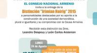 Invitamos a la entrega de la Distinción «Jrimian Hairig» 2015 a los Dres. Leandro Despouy y León Carlos Arslanian. Este galardón es entregado por el CNA a personalidades destacadas por […]
